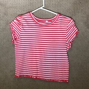 Striped ruffle T-shirt